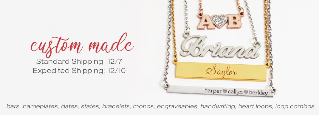 Custom Made to Order POSH Pieces 12/7 with standard shipping and 12/12 with expedited shipping