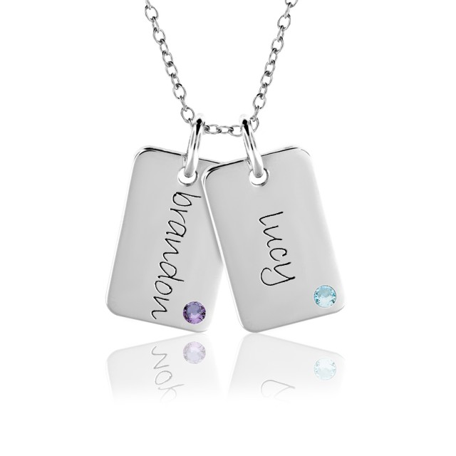 Two Gold Birthstone Mini Dog Tags Mommy Necklace Personalized Jewelry