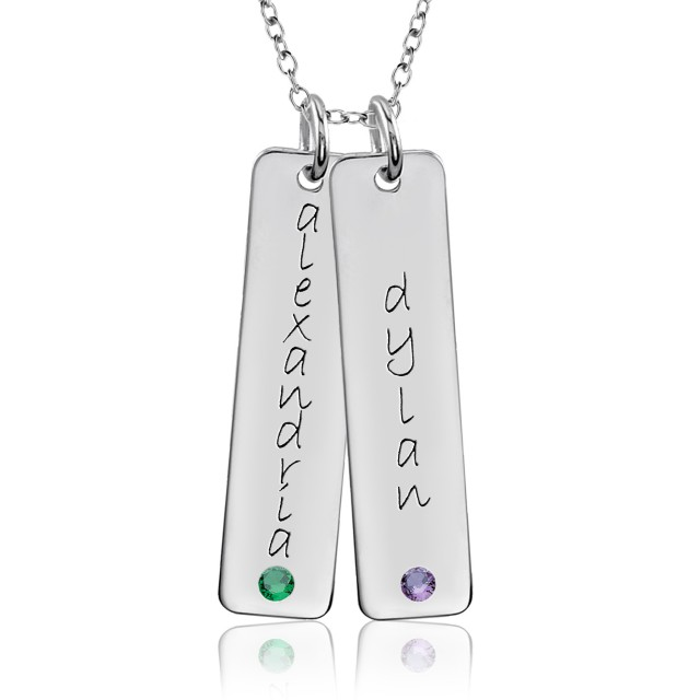 Two Birthstone Tall Tags Mommy Necklace Personalized Jewelry