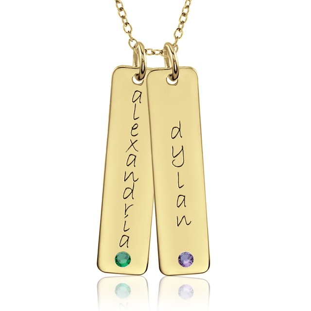 Two Vermeil Birthstone Tall Tags Mommy Necklace Personalized Jewelry