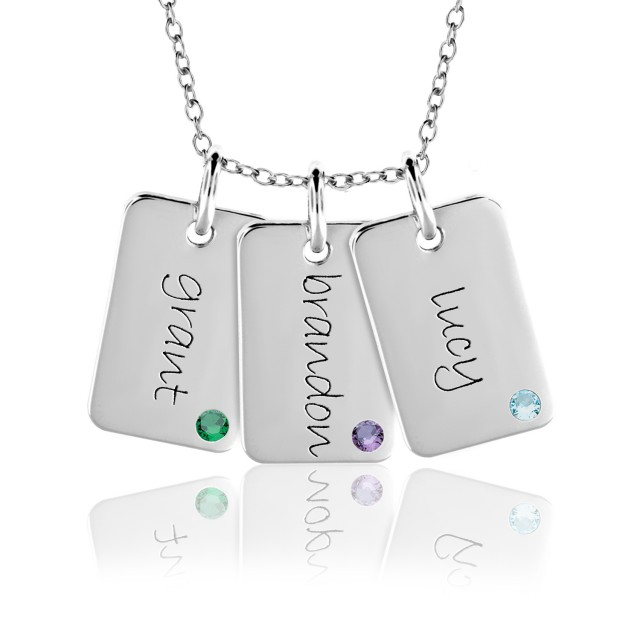 Three Birthstone Mini Dog Tags Mommy Necklace Personalized Jewelry