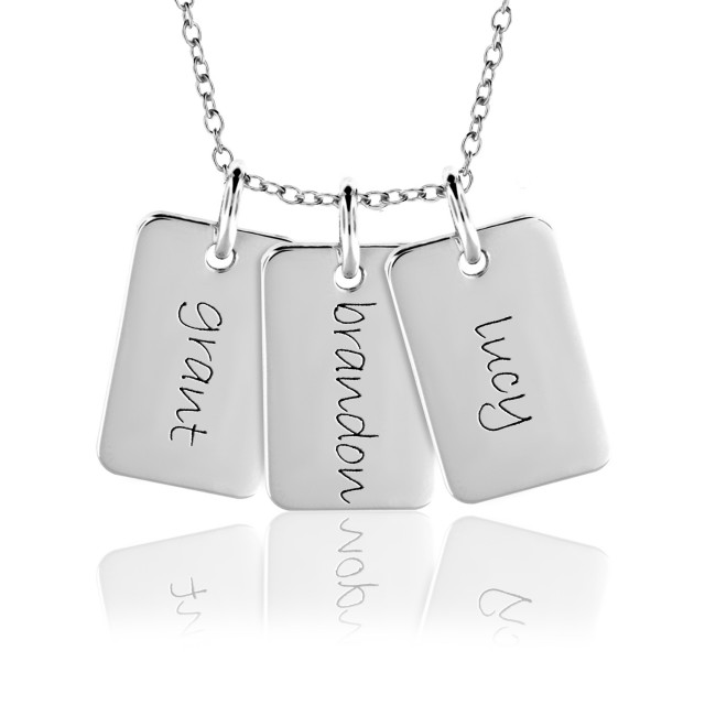 Three Mini Dog Tags Mommy Necklace Personalized Jewelry