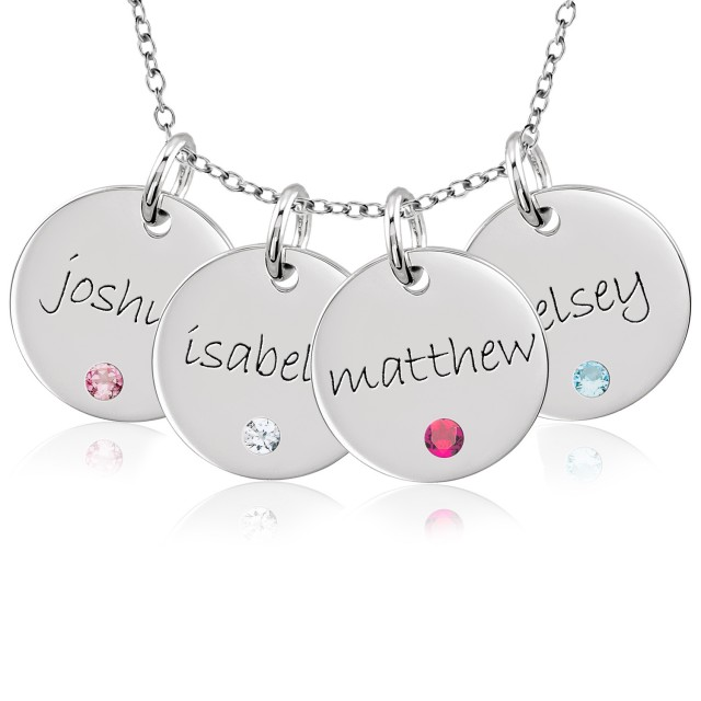 Four Mommy Disc Necklace Personalized Jewelry