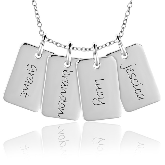 Four Mini Dog Tags Mommy Necklace Personalized Jewelry