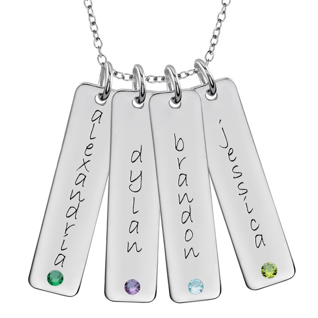 Four Birthstone Tall Tags Mommy Necklace Personalized Jewelry