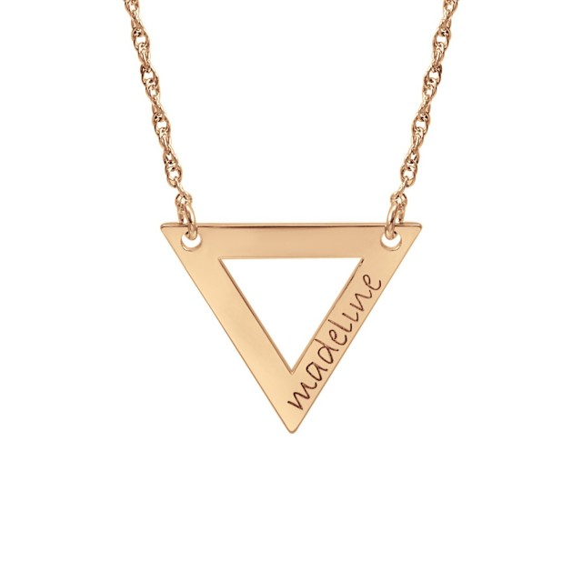 Rose tiny POSH Engravable Cut Out Triangle Necklace Personalized Jewelry
