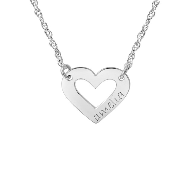 White tiny POSH Engravable Cut Out Heart Necklace Personalized Jewelry