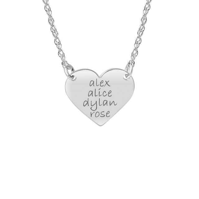 White tiny POSH Engravable Family Heart Necklace