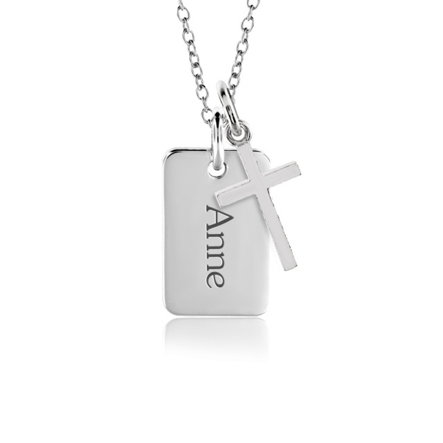 Mini Dog Tag + Cross Charm | POSH Mommy Jewelry