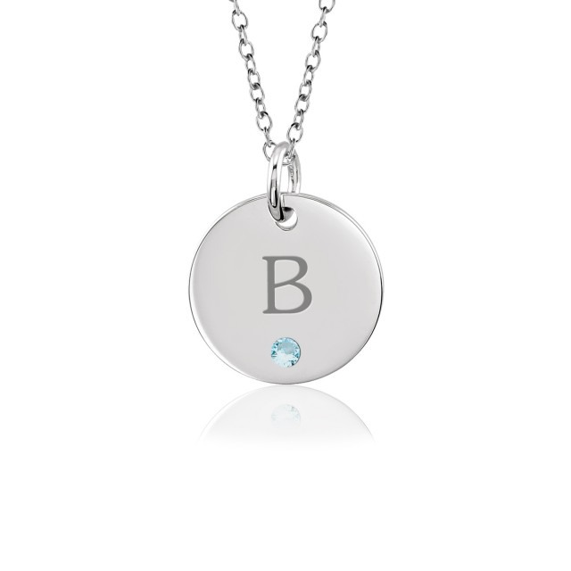 Tanner Initial Birthstone Disc Necklace Personalized Jewelry
