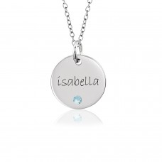 Birthstone Mommy Disc Necklace Personalized Jewelry