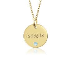 Vermeil Mommy Birthstone Disc Necklace Personalized Jewelry