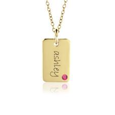 Vermeil Birthstone Mini Dog Tag Mommy Necklace Personalized Jewelry