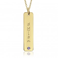 Vermeil Birthstone Tall Tag Mommy Necklace Personalized Jewelry