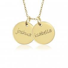Two Vermeil Mommy Discs Necklace Personalized Jewelry
