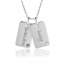 Two Birthstone Mini Dog Tags Mommy Necklace Personalized Jewelry