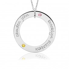 White Gold Two Name POSH Birthstone Loop Mommy Necklace