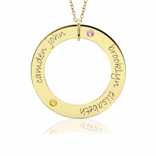 Two Names POSH Vermeil Birthstone Loop Mommy Necklace Personalized Jewelry