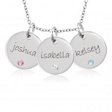 Three Mommy Birthstone Discs Necklace Personalized Jewelry