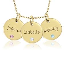 Three Vermeil Birthstone Disc Necklace Personalized Jewelry