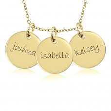 Three Yellow Gold Discs Mommy Necklace Personalized Jewelry