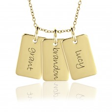three mini dog tags with chain