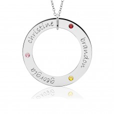 Three Name POSH Birthstone Loop Mommy Necklace Personalized Jewelry