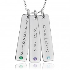 Three Gold Birthstone Tall Tag Mommy Necklace Personalized Jewelry