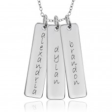 Three Tall Tags Mommy Necklace Personalized Jewelry