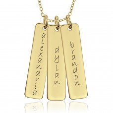 Three Vermeil Tall Tags Mommy Necklace Personalized Jewelry