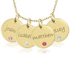 Four Vermeil Birthstone Discs Necklace Personalized Jewelry