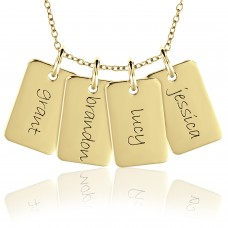 Four Vermeil Mini Dog Tags Mommy Necklace Personalized Jewelry