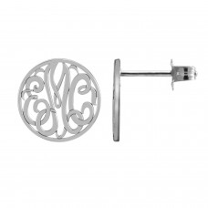 White Loop Monogram Stud Earrings
