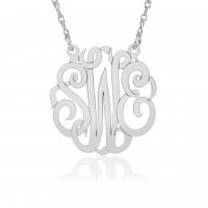 White POSH Script Monogram Necklace Personalized Jewelry
