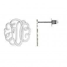 White Script Monogram Stud Earrings