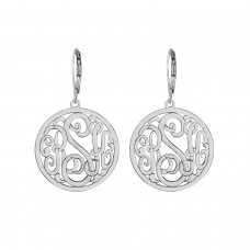 Silver Loop Monogram Earrings