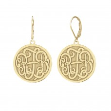Yellow Script Vintage Monogram Earrings