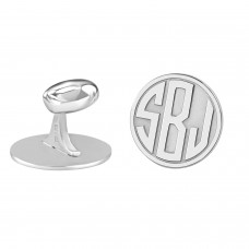 White Block Monogram Round Cufflinks Personalized Jewelry