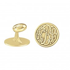Yellow Script Monogram Round Cufflinks