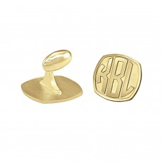 Yellow Cushion Block Monogram Cufflinks Personalized Jewelry