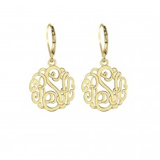Yellow Script Monogram Earrings Personalized Jewelry