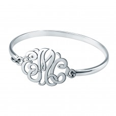 White POSH Script Monogram Bangle