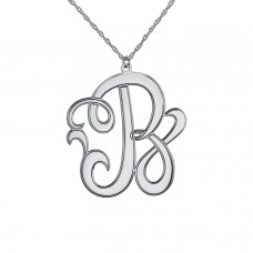 White POSH Script Initial Monogram Necklace