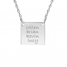 White tiny POSH Engravable Family Square Necklace Personalized Jewelry
