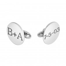 White POSH Disc Cufflinks Personalized Jewelry