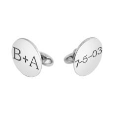 White POSH Disc Cufflinks Personalized Jewelry
