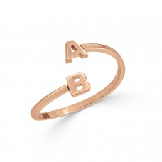 You and Me Ring Two Initial Rose Gold Ring