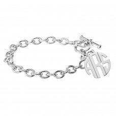 White POSH Block Monogram Toggle Bracelet