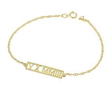 Yellow Roman Numeral Bracelet
