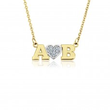 Yellow Diamond Initial LOVE Necklace Personalized Jewelry